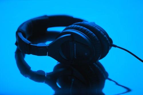 headphones on blue
