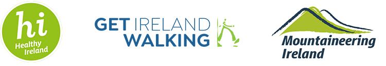 Healthy Ireland, Get Ireland Walking and Mountaineering Ireland logos