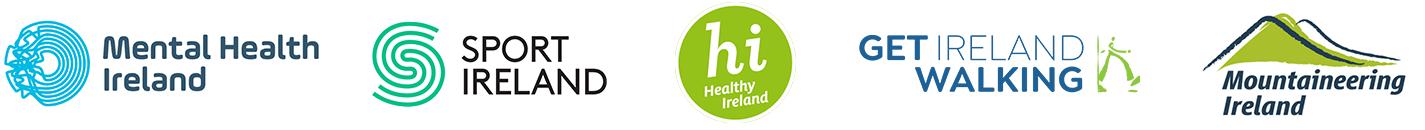 MHI, Sports Ireland, Healthy Ireland, Get Ireland Walking and Mountaineering Ireland logos